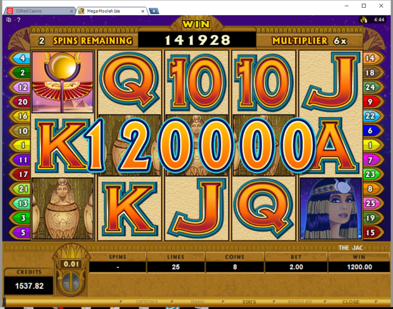 Mega Moolah Isis Big Win – $1200 from $2 bet!
