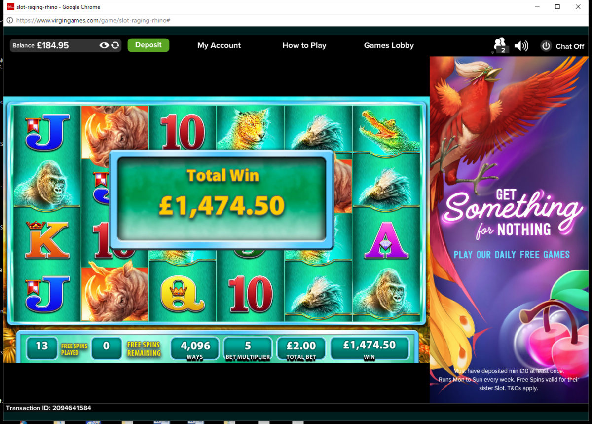 Raging Rhino Slot – Huge Win on £2 bet